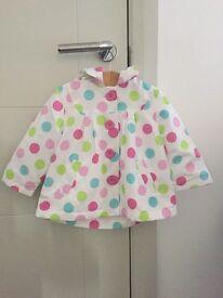Designer Zip Zap, fur lined rain coat, 9 months