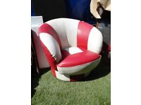 Vintage Real Leather Swiver Tub Chair
