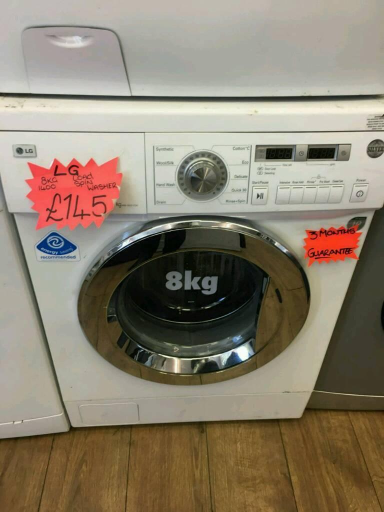 LG 8KG 1400 SPIN WASHING MACHINE IN WHITE