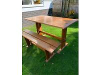 Table and bench - wooden