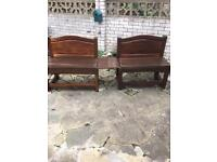 A pair of double benches