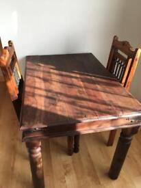Heavy Solid Wood Table & Two Chairs