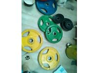 Used Coloured Rubber Coated Tri-Grip Olympic Weight Plates - 157.5kg