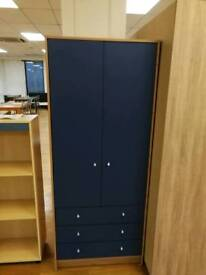 2 door 3 drawer wardrobe with hanging rail in blue and beech