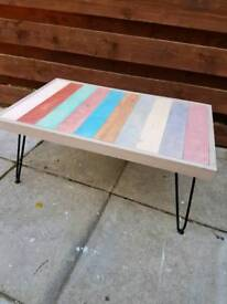 Hardwood stripey coffee table