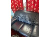 Blue 2 seater leather sofa and 2 chairs