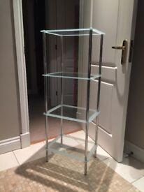 Glass free standing bathroom shelves