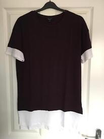 New Look Longline layered T-shirt in Dark Burgundy (Small)
