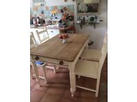 Vintage French style pine table 4 chairs