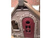 Little tikes story cottage playhouse with bench and stools