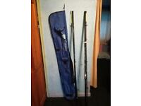 2 Rob thompson 12ft beachcasters and keenets rod bag