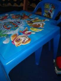 Paw patrol table & chair