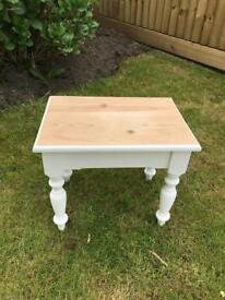 Farmhouse chic solid pine side table