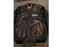 Black leather look really heavy mens size small/medium