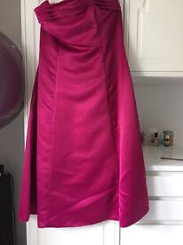 BHS satin fuschia strapless size 14 dress