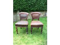 Pair of vintage chairs , 1930s leather and wood