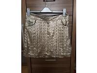 Gold sequinned skirt size 12