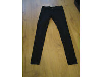 LADIES BLACK SOFT SKINNY JEANS - SIZE 14 - VGC