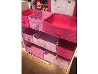 Pink storage drawers