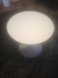 Light Grey Round Wood Effect Table in Used Condition