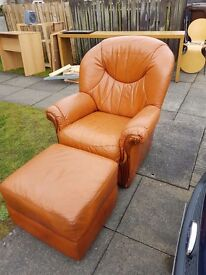 Arm chair and matching foot stool
