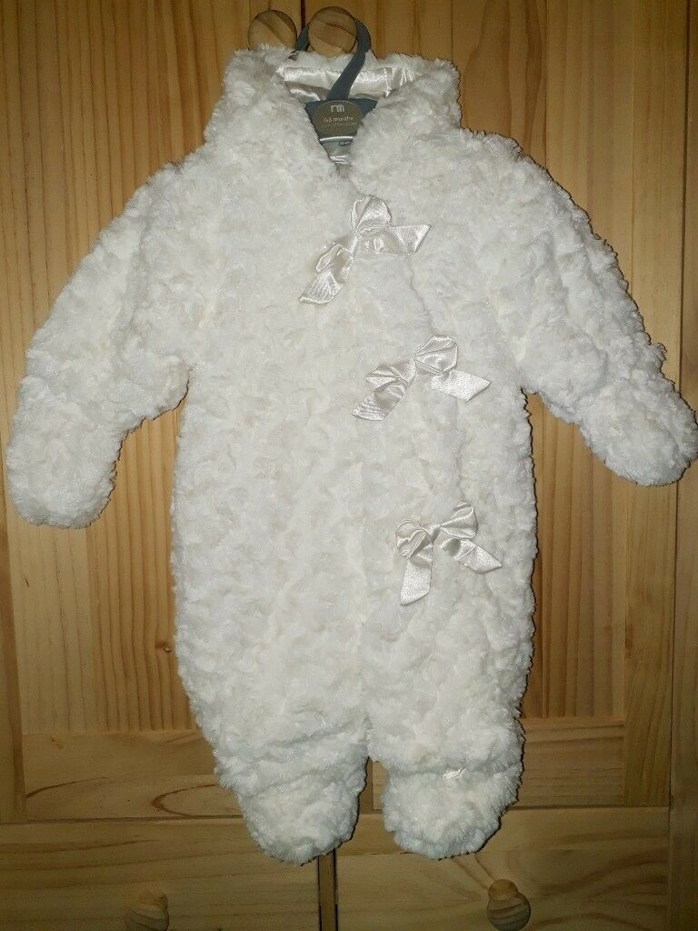Mothercare Hooded Snowsuits With Detachable Mittens & Booties, Age 0-3 Months, Twins