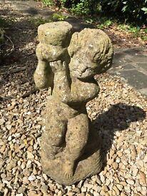 Vintage garden pond water feature plant stand ornament statue boy cherub stone/ concrete