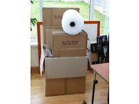 30 USED ONCE CARDBOARD PACKING BOXES VARIOUS SIZES.PLUS PART ROLL 50MM BUBBLEWRAP.