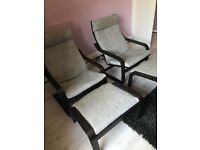 2 x Ikea Poang chairs and footstools