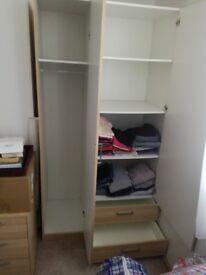 Wardrobe with 2 draws H190 cm W101cm D 50 cm £25