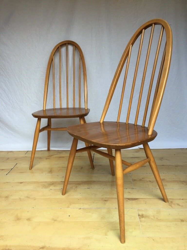 Pair Of Vintage Ercol Windsor Quaker 365 Hoop Back Dining Chairs