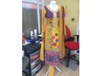 Asian Cotton Frock Suit with Choori Pyjamih and net dabatah