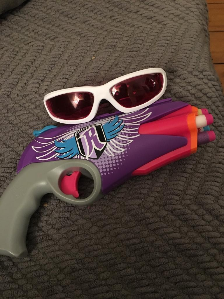 Nerf Rebelle Pink gun and safety glasses. Toy, girl