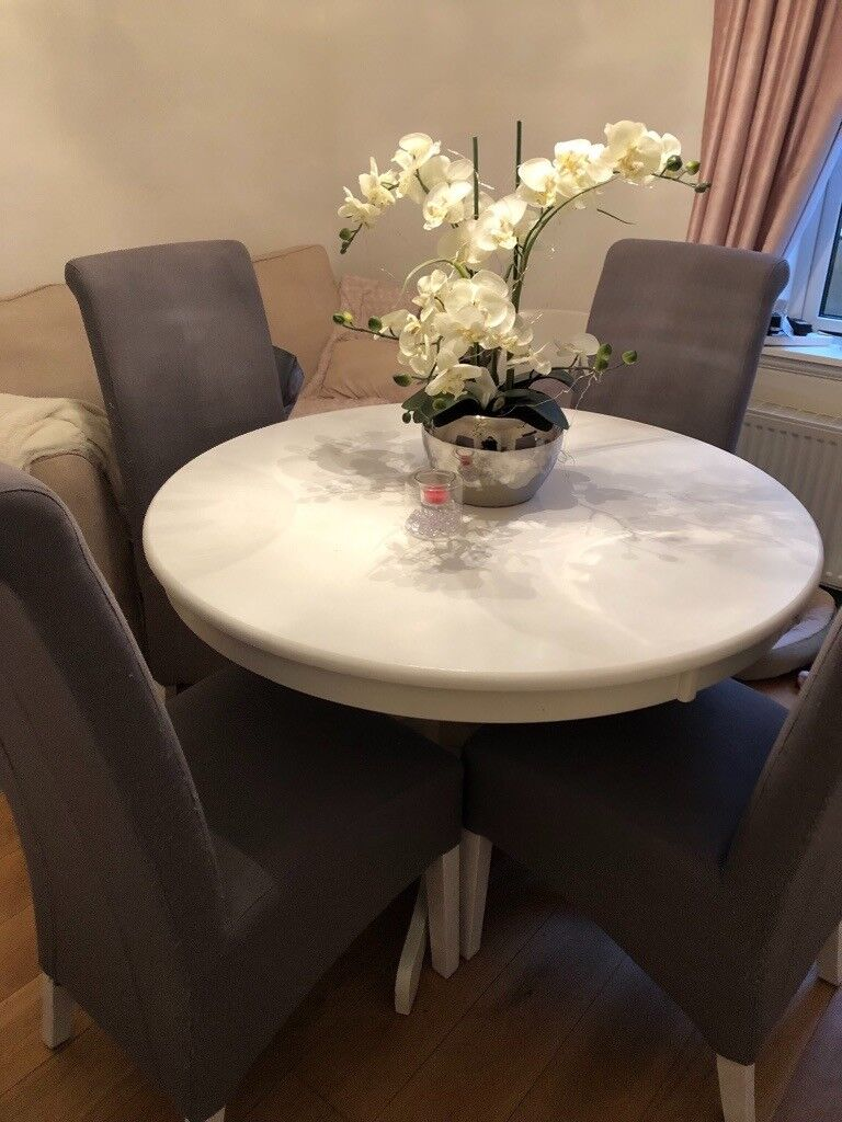 Dining Table And Four Upholstered Dining Chairs In Kilmacolm