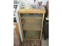 MODERN FREE-STANDING GLAZED DISPLAY CABINET. PINE ADJUSTABLE SHELVES. VIEWING/DELIVERY AVAILABLE
