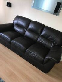Dark brown leather 3 + 2 seater couch for sale in good condition!
