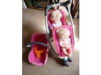 "Smoby ""quinny"" Dolls twin Buggy, Maxi Cosi Car seat (clips into frame) and twin dolls."