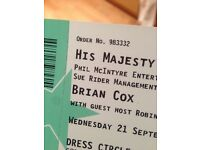 1 ticket Brian Cox Wednesday 21.09