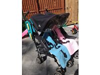 Maclaren twin techno double buggy - black with pink and blue covers