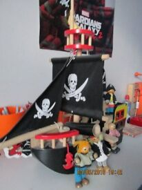 Wooden Pirate Ship and Figures