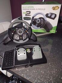 Micro con Racing Wheel & Pedals for XBOX 360