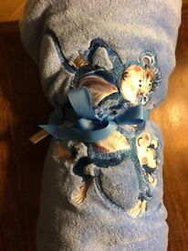 Brand new Laura Ashley kids blue monkey fleece blanket