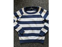 Fat Face FatFace striped jumper oatmeal and navy Size 14 (more like 10)