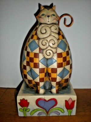 Jim Shore CAT Figurine Heartwood Creek Quilted 2004 # V118838 Heavy