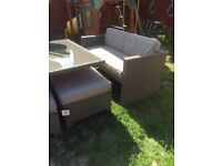STERLING RATTAN FURNITURE SET INCLUDES TABLE 4 x STOOLS AND 2 SOFAS ALL WITH CUSHIONS EXCELLENT CON
