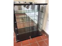 Vintage 1980s Shop Display Cabinet with Glass Doors and Back Mirror