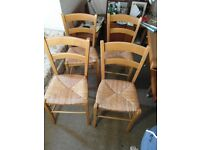 FOUR STRAW-SEAT DINING CHAIRS