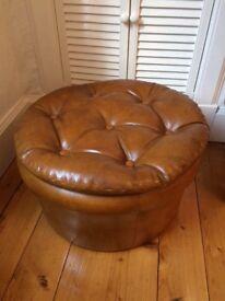 Vintage leather Pouffe