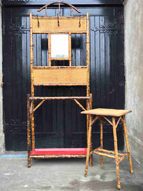 Victorian Bamboo Hall Stand and Side Table - ANTIQUE