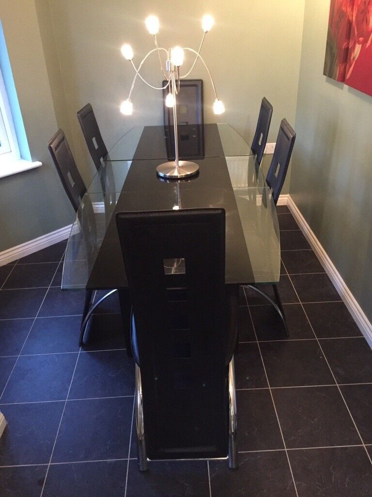 Dining table & chairs - Seats 6 - Glass / black granite ex. cond.